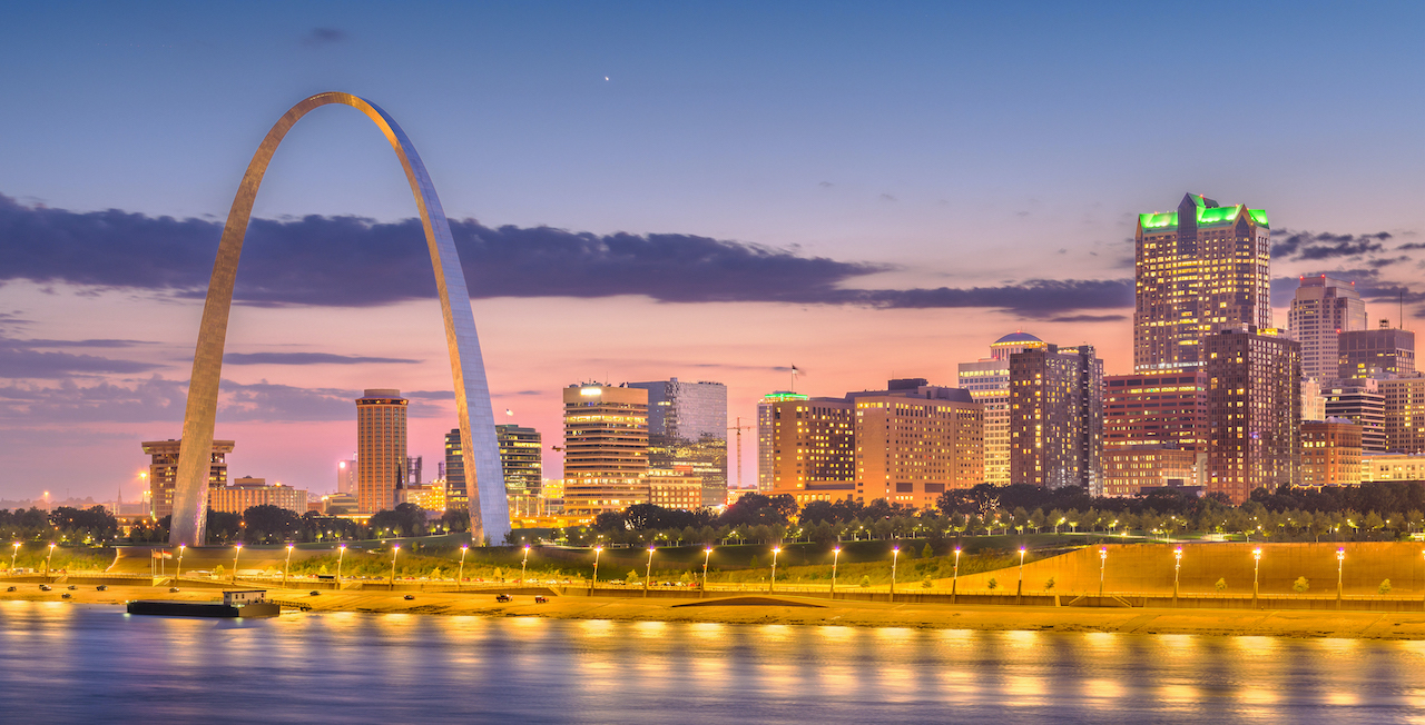 Image Of The St. Louis Missouri Riverfront And Skyline, A Vision Of The Post Pandemic Future.